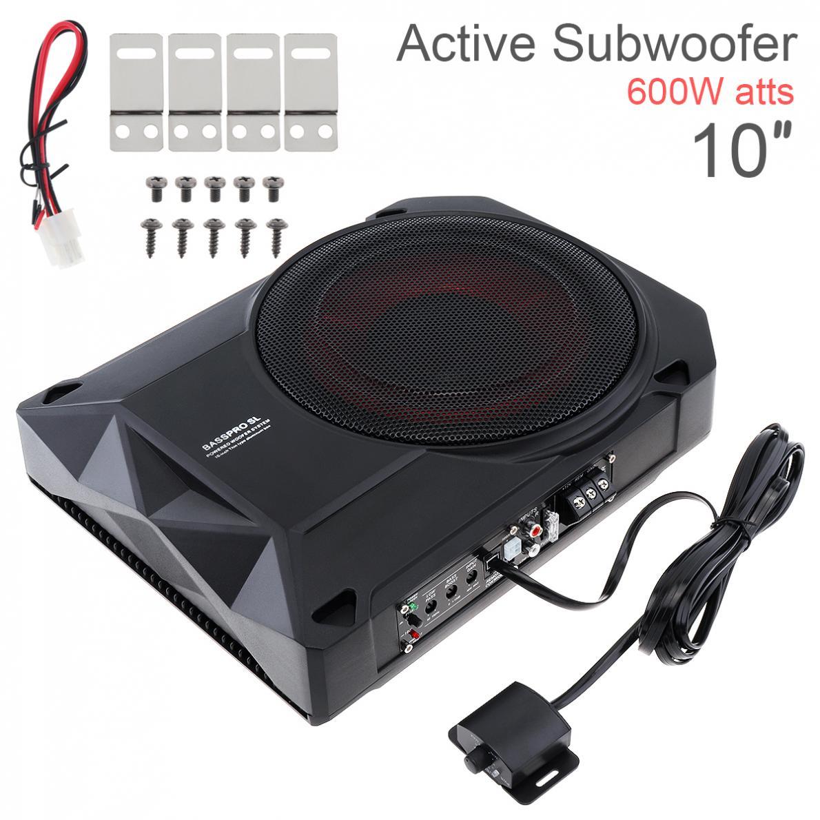 Noir universel 10 pouces 12V 600W Fuselage mince sous siège voiture Subwoofer actif amplificateur de basse haut-parleur