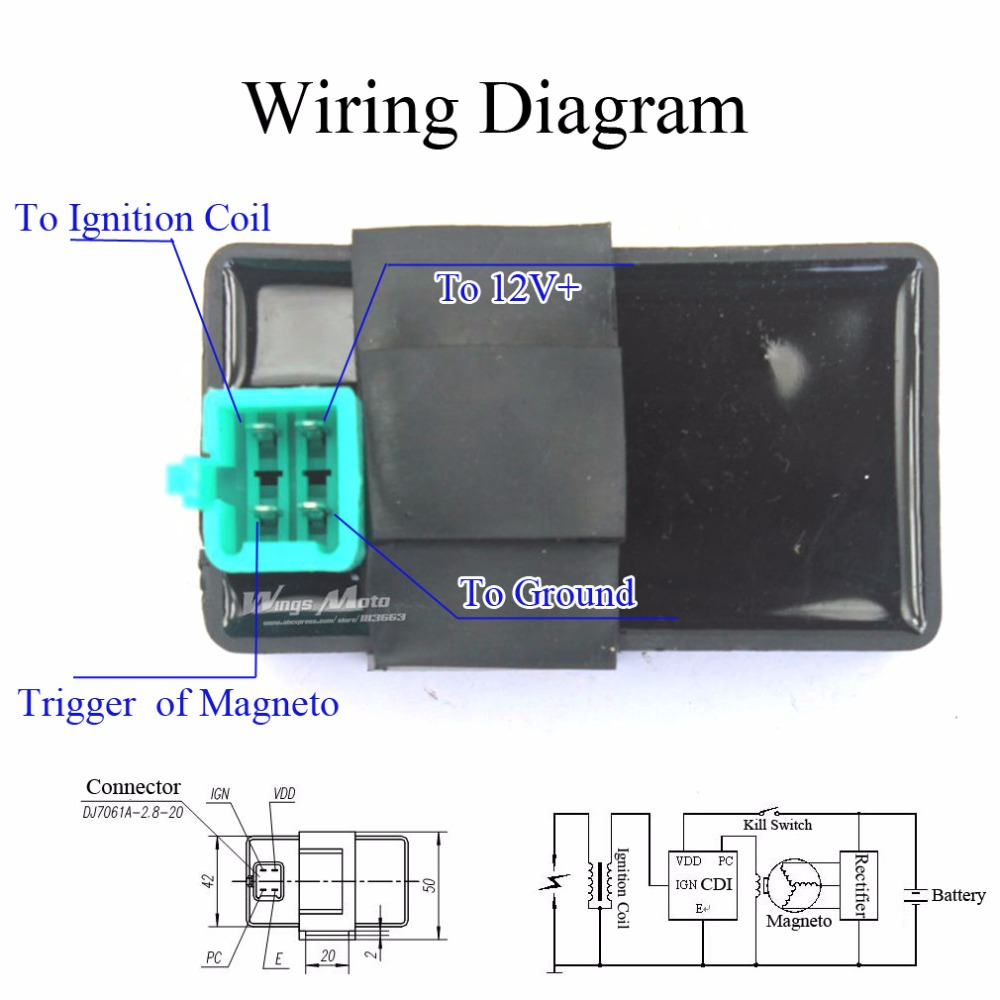 6 pin cdi box wiring diagram low voltage outdoor lighting 10pcs 4 pins dc 50cc 70cc 90cc 110cc 125cc atv dirt bike pit bike-in motorbike ingition ...