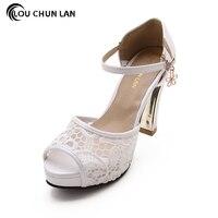 Shoes Women's Shoes Pumps white blue pink black color High heels Wedding Shoes lace Peep Toe Bride Shoes bridesmaid fashion