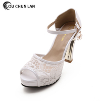 Shoes Women S Shoes Pumps White Blue Pink Black Color High Heels Wedding Shoes Lace Peep