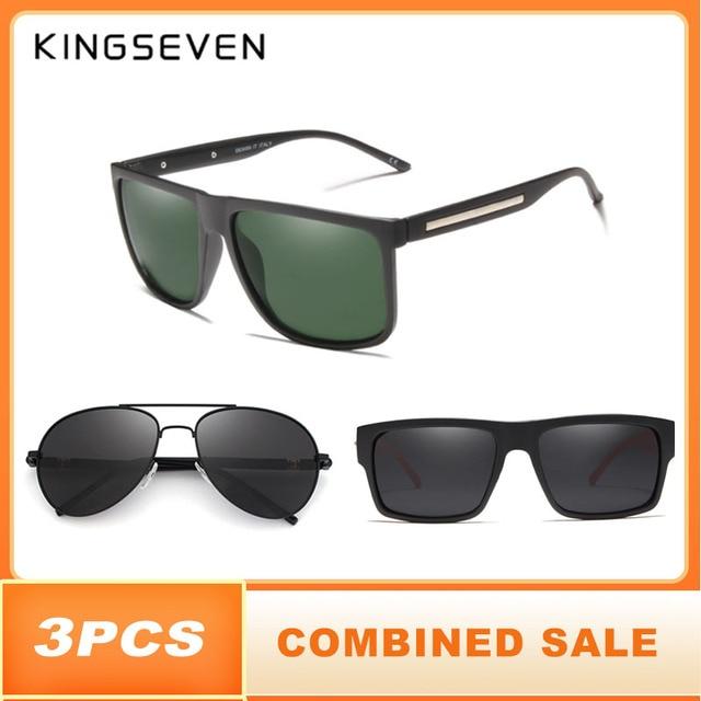 3PCS Combined Sale KINGSEVEN Brand Polarized Sunglasses For Men Plastic Oculos de sol Mens Fashion Square Driving Eyewear