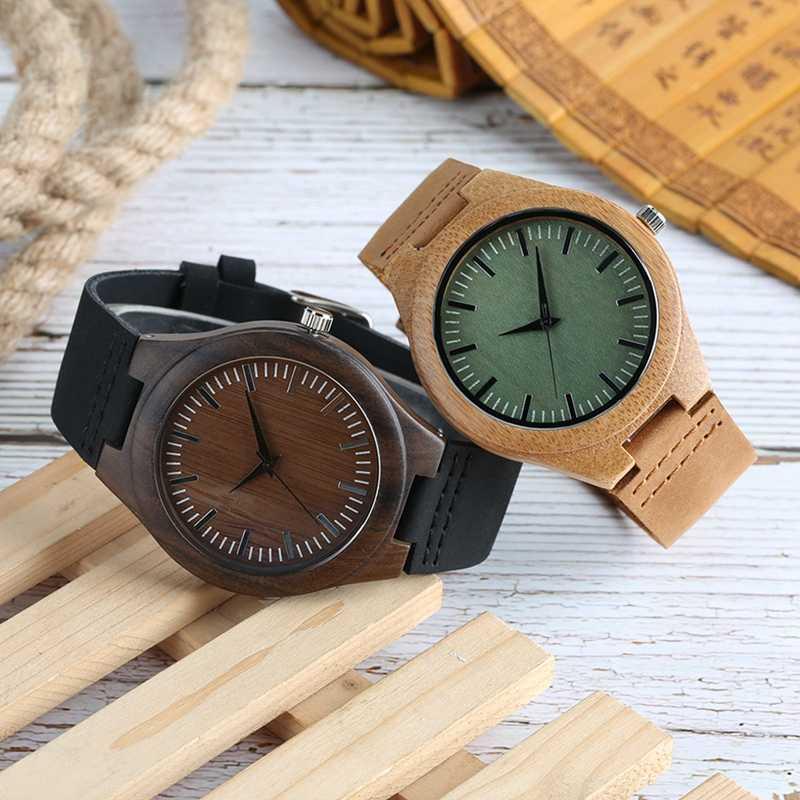 Relojes de madera para hombre, Retro, de ébano, caja de madera, esfera verde, escala grabada a mano, reloj deportivo militar, reloj de pulsera de cuarzo para hombre