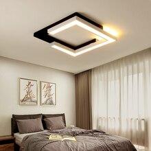 Kwadratowy biały + czarny lampy sufitowe do salonu sypialnia montowane na powierzchni nowoczesne lampy sufitowe LED światła do biura gabinet