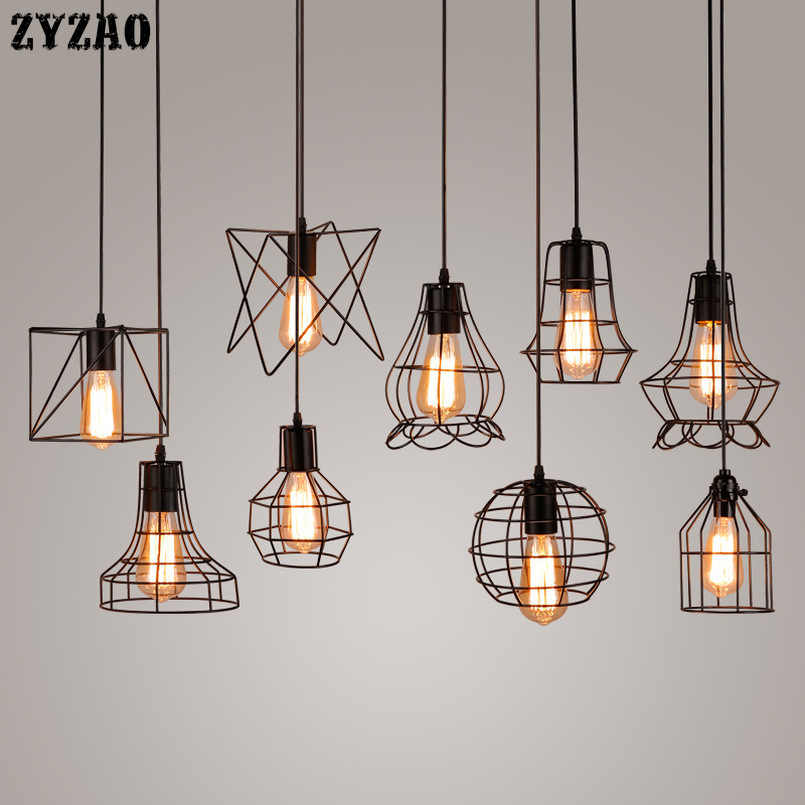 Industrial Retro Iron Pendant Lights Dining Room Restaurant Kitchen Hanging Lamp Loft Vintage Simple Bedroom Bar Pendant Lamps