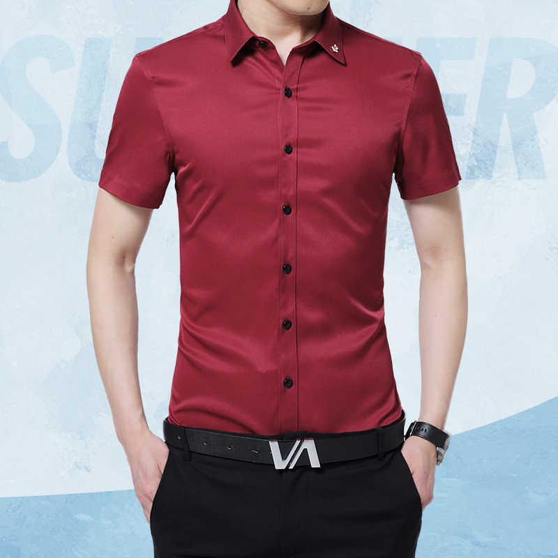 4bf2eeb283e 1pcs Mens plus size Slim fit shirts 2019 Summer Pure silk fabric Thin short  sleeves dress shirts Men Skinny shirts overhemd boys-in Casual Shirts from  Men s ...