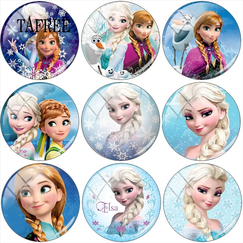 TAFREE Princess Elsa Anna Snow Queen 12mm/15mm/16mm/18mm/20mm/25mm Round Glass Cabochon Demo Flat Back Making Findings 5pcs/lot