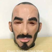 Free shipping Halloween Party Cosplay Famous Man David Beckham Face Mask Latex Party Real Human Face Masks Cool realistic masks