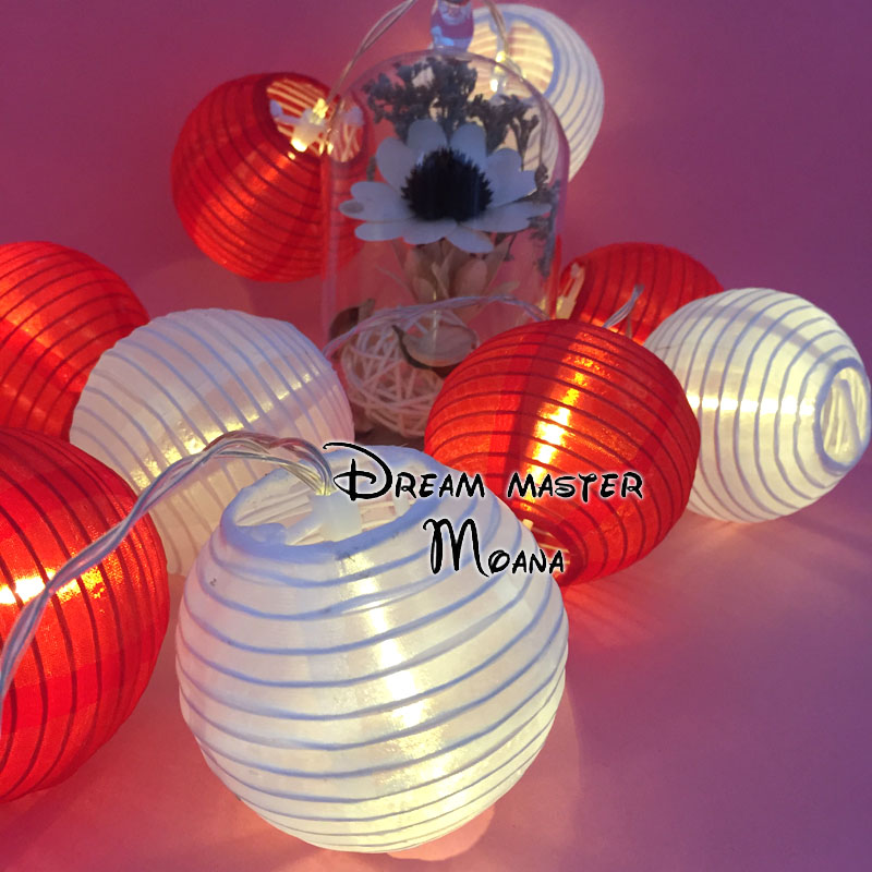 Romantic Battery Powered Warm White Led Lantern String Light White mix Red Lantern Fairy Light for Christmas Tree Decor