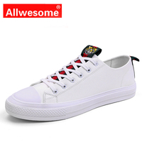 Allwesome High Quality All Black Vulcanized White Shoes Men's Leather Casual Shoes Flats Rubber Sneakers Red Bottoms Shoes