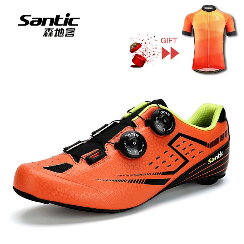 SANTIC Men Road Cycling Shoes 2018 Carbon Fiber Road Bike Shoes Self-Locking Athletic Bicycle Shoe Sneakers Zapatillas Ciclismo santic road cycling shoes ultralight carbon fiber pro bike road shoes self locking athletic bicycle shoes sapatilha ciclismo