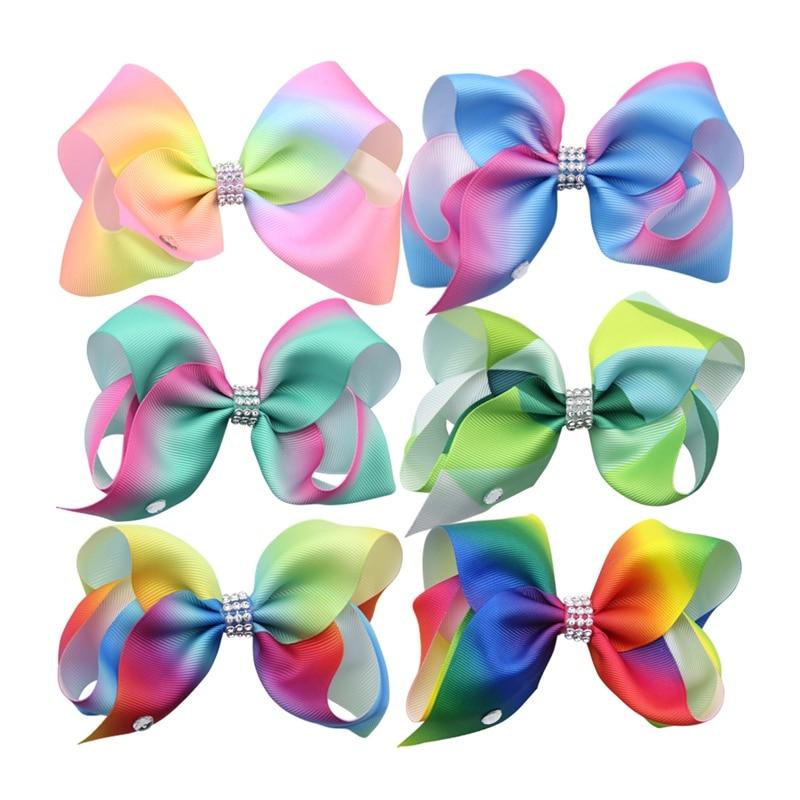 6Pcs/Lot 4.5 Inch Rainbow Bow Hair Clips Women Hairband Hairbow Clip Girls Hair Accessories Fashion Headwear Drop Shipping