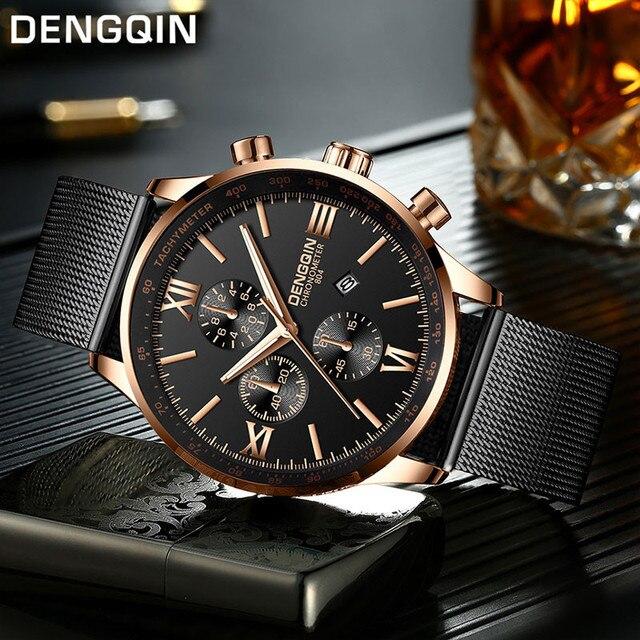 DENGQIN Men's Wrist Watch Stainless Steel Casual Quartz Analog Date Watch Man watches mens 2019 men wristwatch clock