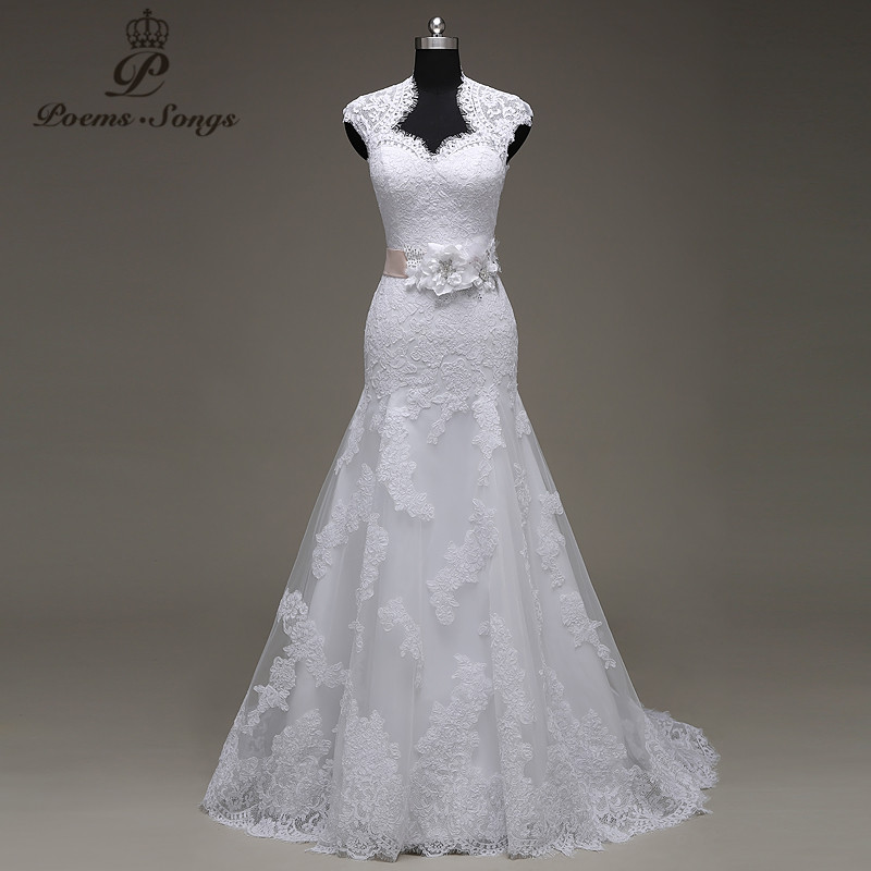 PoemsSongs real photo high quality custom made lace flowers mermaid wedding dresses vestido de noiva