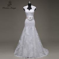 PoemsSongs Real Photo High Quality Custom Made Lace Flowers Mermaid Wedding Dresses Vestido De Noiva