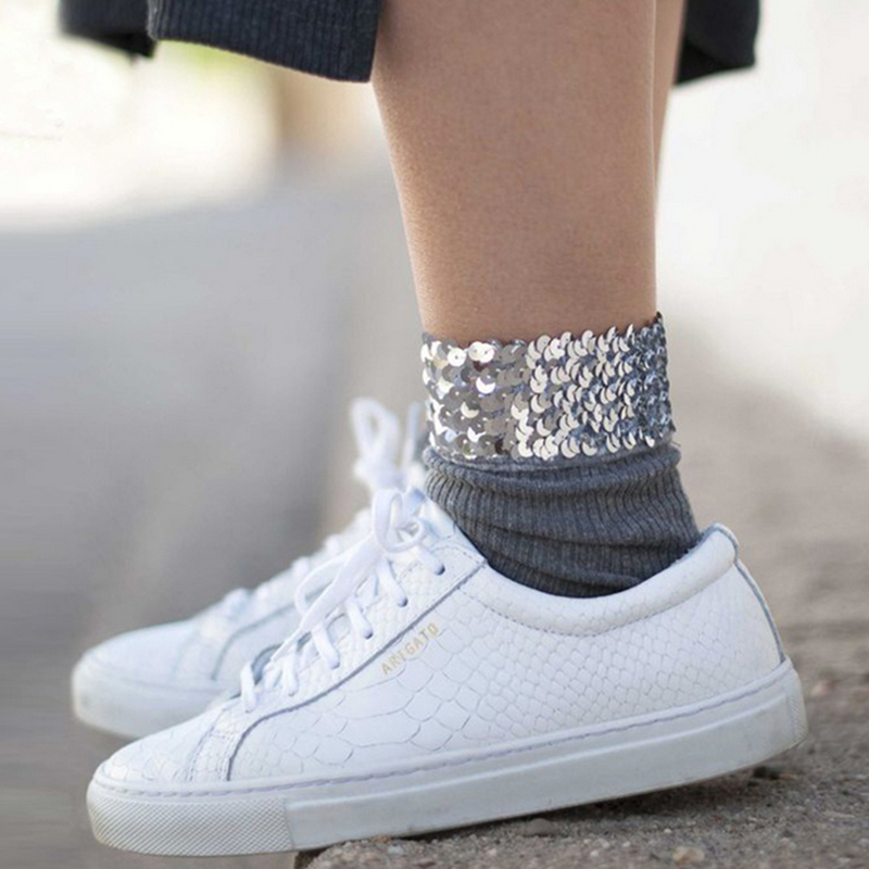 Fashion Short Glitter Socks Women Vintage Cotton Shiny Socks Harajuku Soft Cute sock Casual Chic Bead