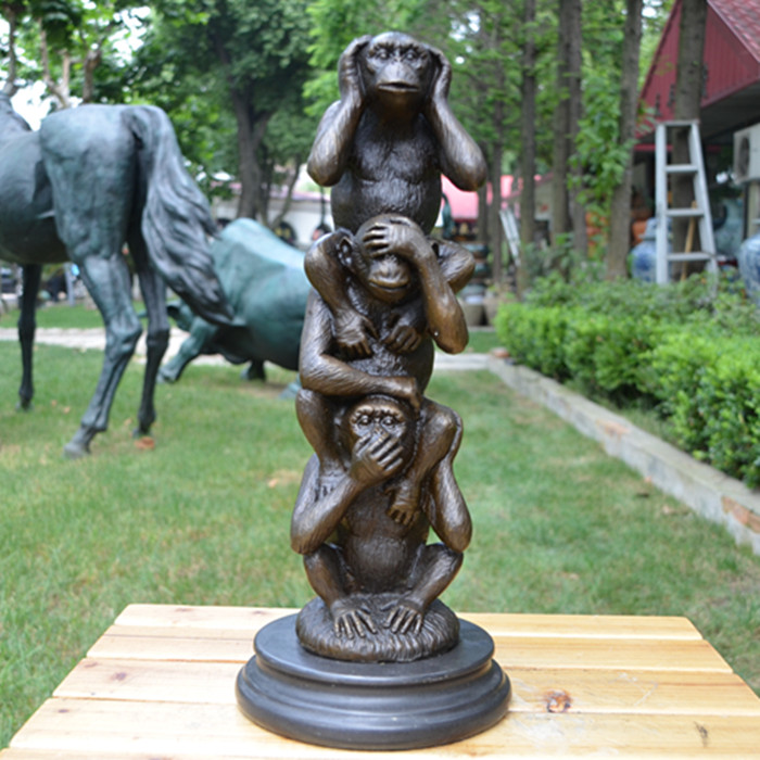 The brass statue of animal ornaments luckylamb three monkey monkey crafts Home Furnishing jewelry gifts classmates wall dies