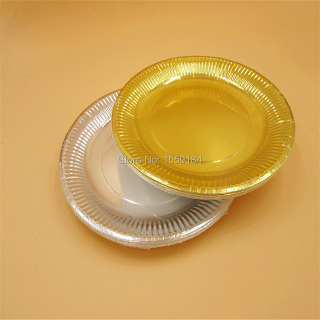 Free Shipping 500pcs ROUND Paper PLATES 23cm Plain Solid Glossy Gold Foil Silver Plates Party Tableware  sc 1 st  AliExpress.com & Free Shipping 500pcs ROUND Paper PLATES 23cm Plain Solid Glossy Gold ...