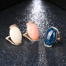 Kinel Rose Gold Color Rings Blue Long Elliptic Section 2017 Engagement Rings For Women Latest Design