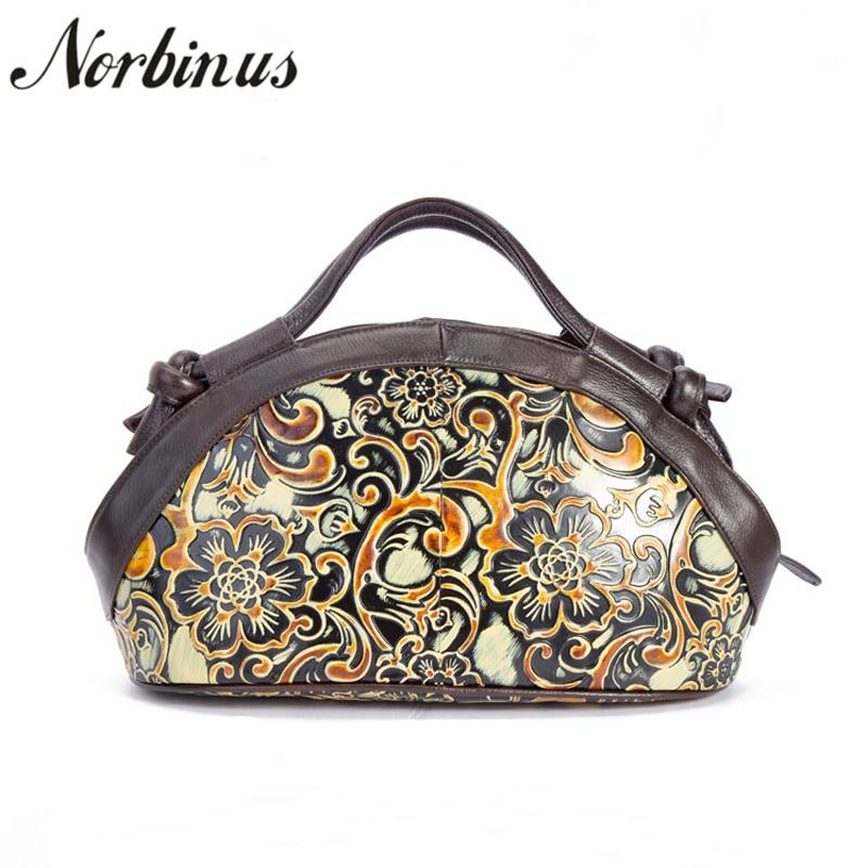 все цены на Norbinus Women Messenger Bag Genuine Leather Shoulder Bag Crossbody Bags for Women Leather Handbags Female Small Flower Tote Sac онлайн