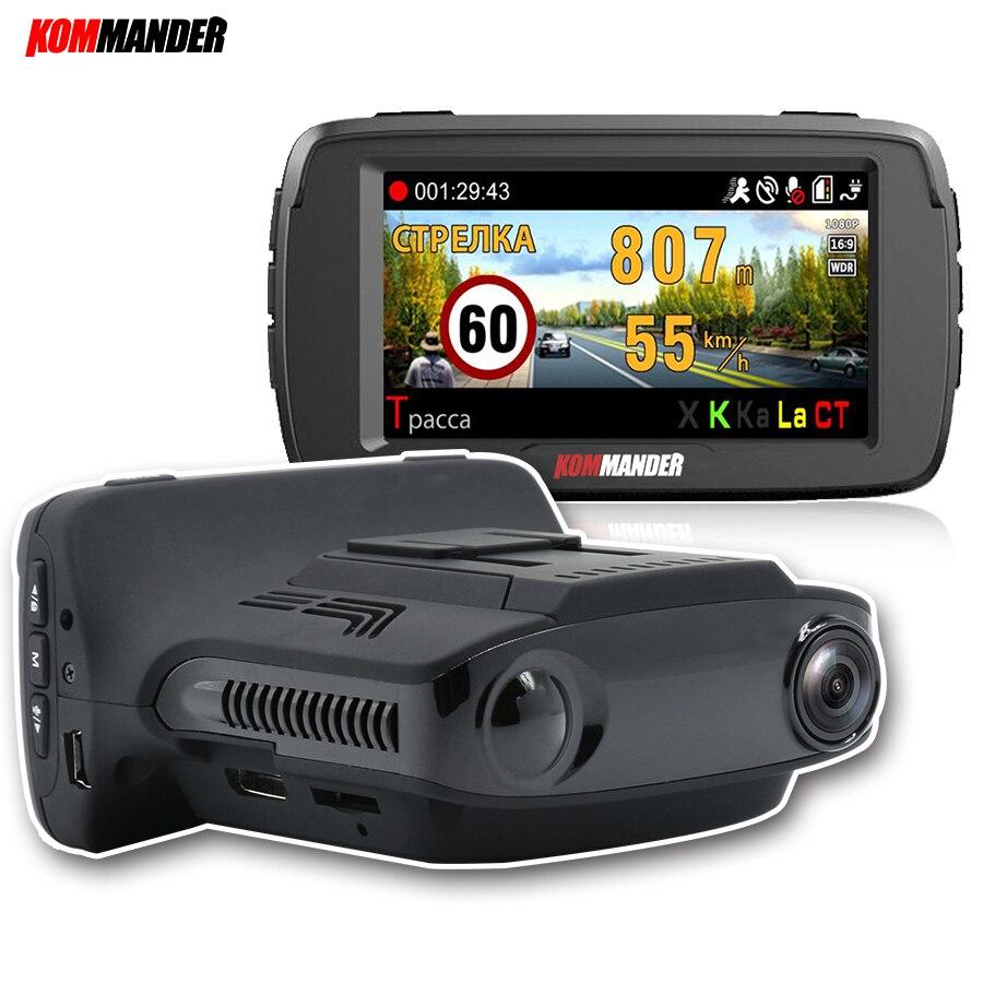 Kommander Car Camera CAR DVR with Radar Detector Built in GPS LDWS 3 in 1 Avoid tickets for Russia Language Speedcam 1080p