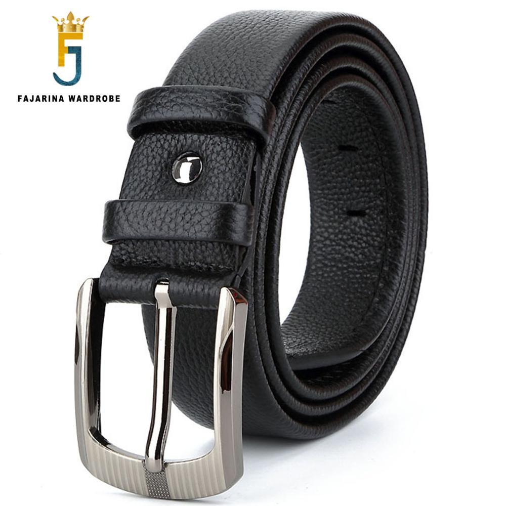 FAJARINA Top Quality Unique Design Zipper Genuine Leather Mens Belts Men's Luxury Brand Cowhide Leather Belt 3.8cm Wide N17FJ419