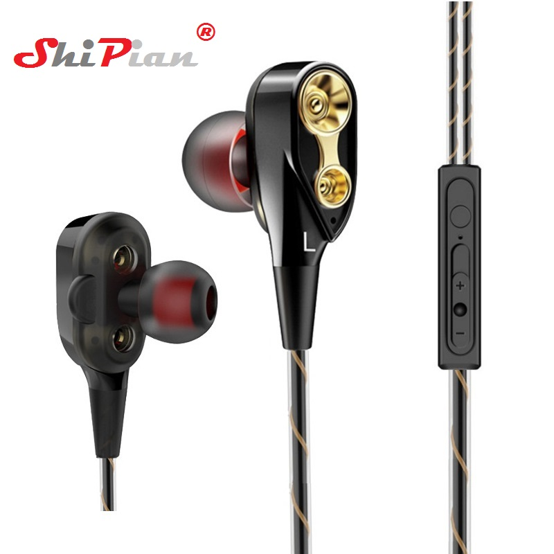 3.5mm Music Dual Drive Stereo Earphone In-ear Headset Earbuds Bass Earphones For Meizu U10 U 10 Earphone With Mic Long Performance Life