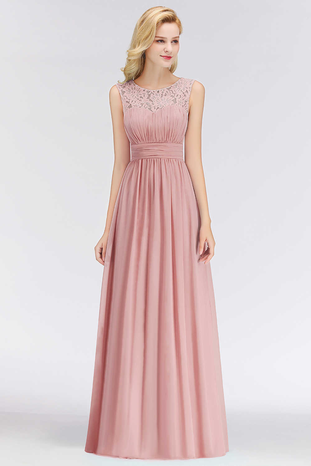 891b7c1b594 ... 2019 Elegant Dusty Rose Lace Bridesmaid Dresses Pleat O-Neck Sleeveless  Chiffon Wedding Party Dresses ...