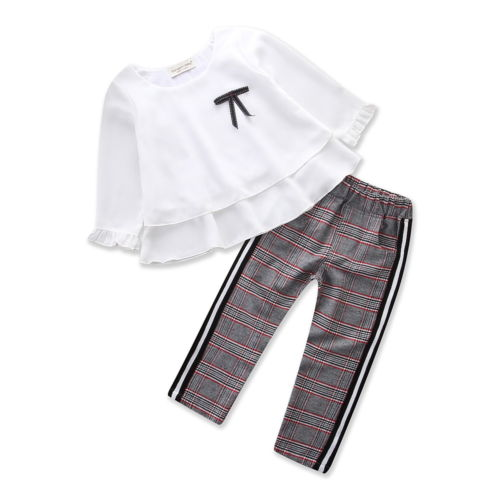 Girl Kids Plaid Blouse Shirt Tops Long Pants 2PCS Casual Outfits Clothes 1-6T