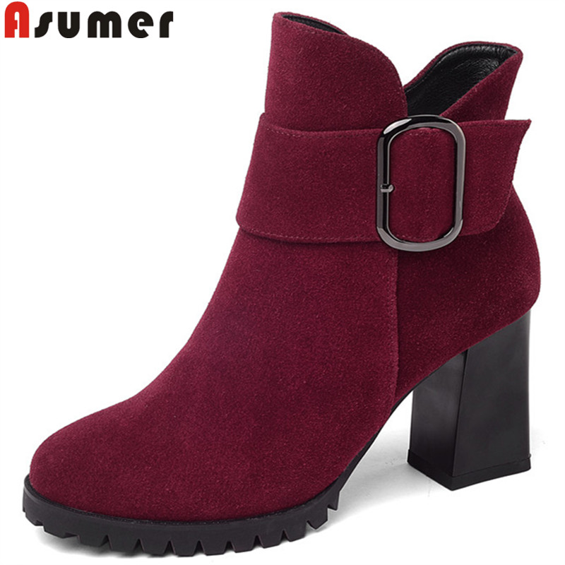 ASUMER 2018 fashion new autumn winter boots women round toe zip suede leather boots thick high heels ankle boots buckle ladies asumer black fashion 2018 autumn winter boots women round toe zip mixed colors ankle boots flat with suede leather boots