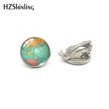 2019 New Arrival Round No Pierced Earrings Clip World Map Pattern Sweet Summer Accessories Best Gifts Jewelry(China)