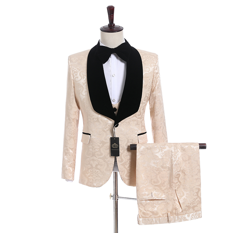 Newest Groomsmen Shawl Lapel Groom Tuxedos Side Vent Men Suits Wedding Best Man Blazer ( Jacket+Pants+Bow Tie+Vest ) C138