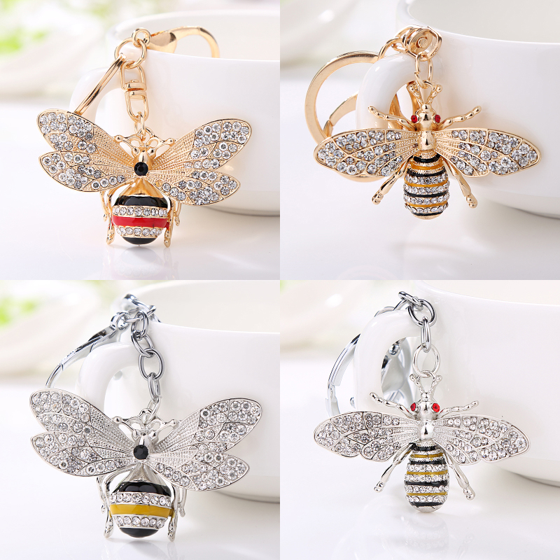 Fashion pendant insect keychain cute little bee key chain alloy rhinestone jewelry car key ring woman bag buckle holiday gift(China)