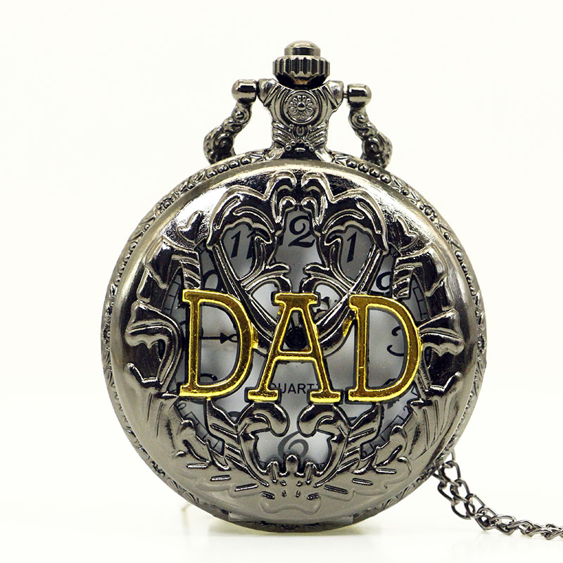 Antique Fathers DAD Hollow Father Gift Pocket Watch Necklace Vintage Pendant Fathers Day Gift