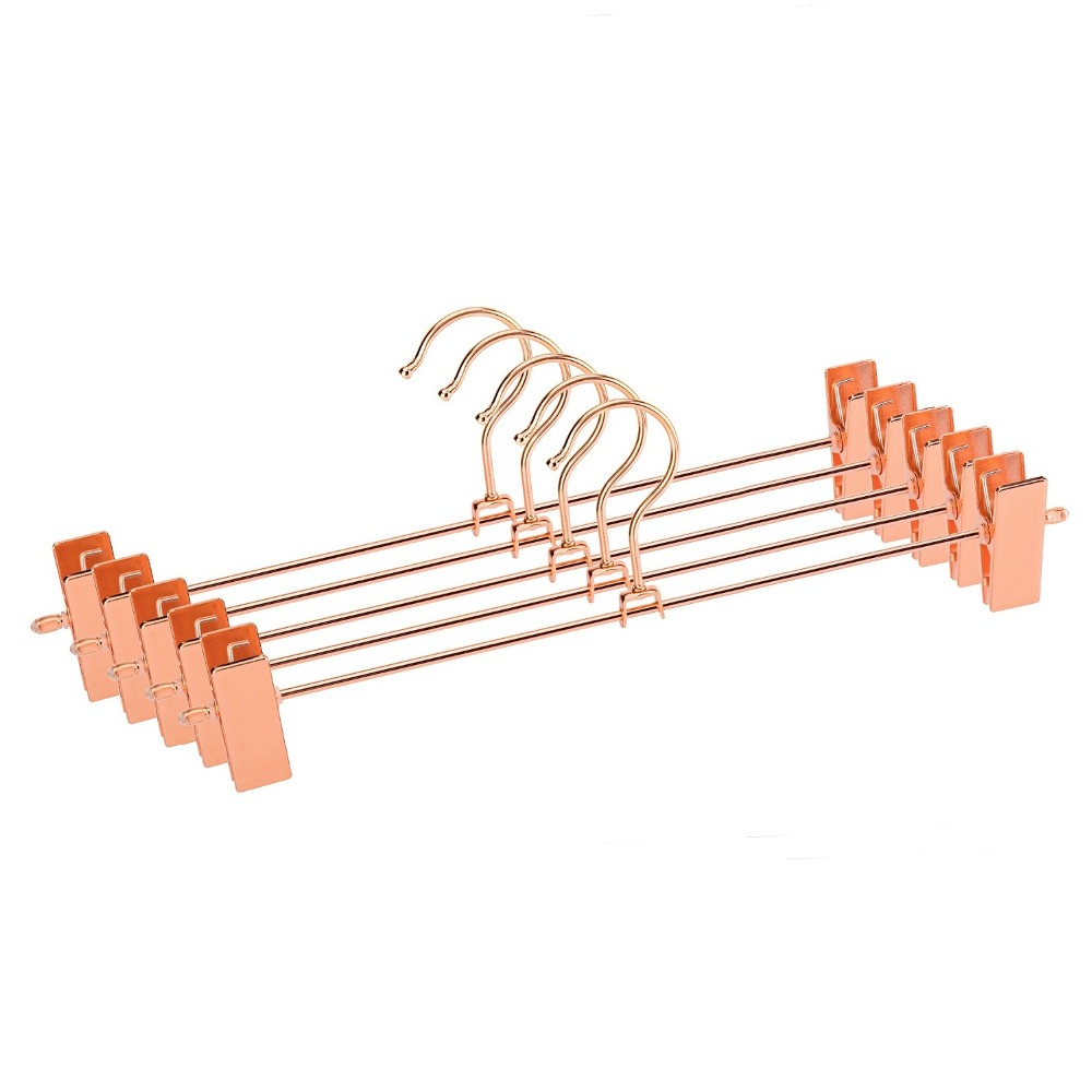 Hangerlink <font><b>Rose</b></font> Copper <font><b>Gold</b></font> Metal Heavy Duty Pants <font><b>Skirt</b></font> Slack Hangers, Trousers Hanger with Clips Rack Swivel Hook (12pcs/Lot) image