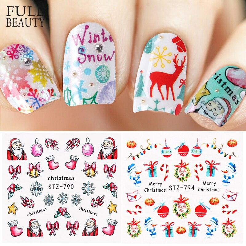 1pcs Xmas New Year Nail Sticker Water Decal Slider Tattoo Snow Flake Santa Full Wrap Manicure Decoration Foil Tip CHSTZ779-803