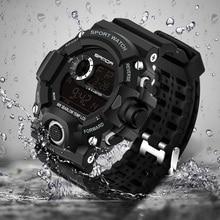 2017 Sanda Digital Watch Men Military G Style Shock Sport Watch Waterproof Electronic Wristwatch Mens Clock Rubber Band Relojes