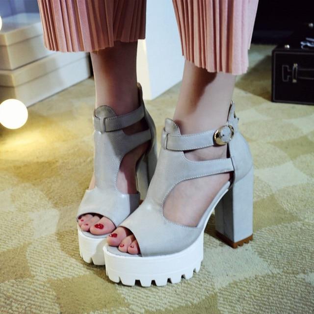3eb15ace2db PXELENA Vintage Rome Punk Rock Gothic Sandals Women Peep Toe Square Chunky  Block High Heels Thick Platform Gladiator Sandals New
