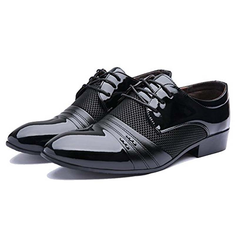 Classic Men Oxfords Leather Shoes Breathable Suit Formal Shoes Italian Man Dress Pointy Shoes Male Vintage Black Brown