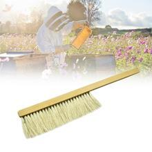 養蜂ツール木材ハチスイープブラシ 2 行の馬の尻尾の毛新蜂ブラシ養蜂機器