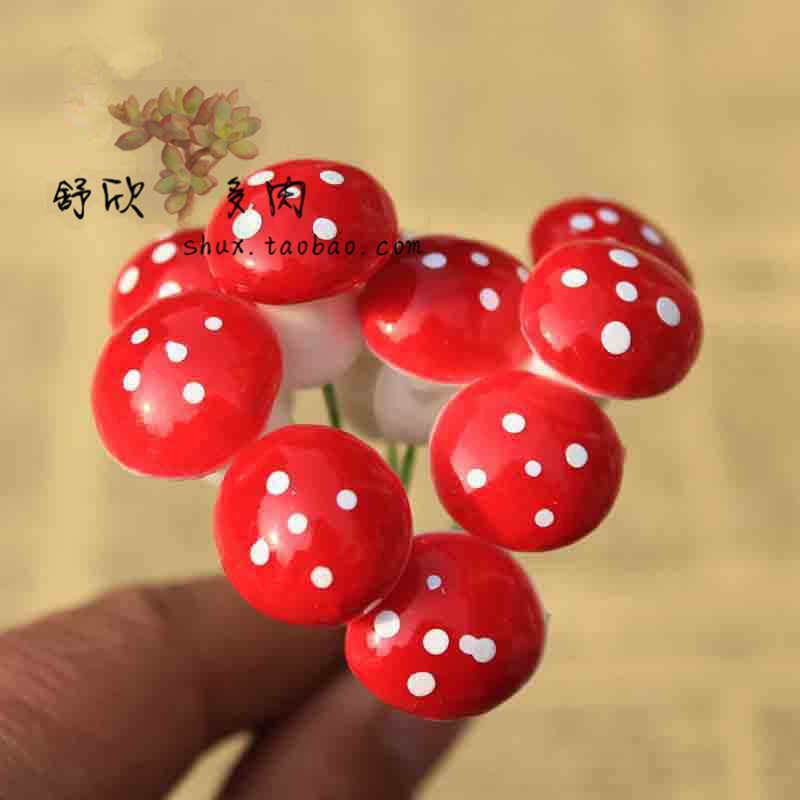 500pcs/Lot 16*20mm Foam Mushroom with Stem Artificial Mini Cute Home Decoration Wedding flowers Mushroom DIY Crafts 004006003