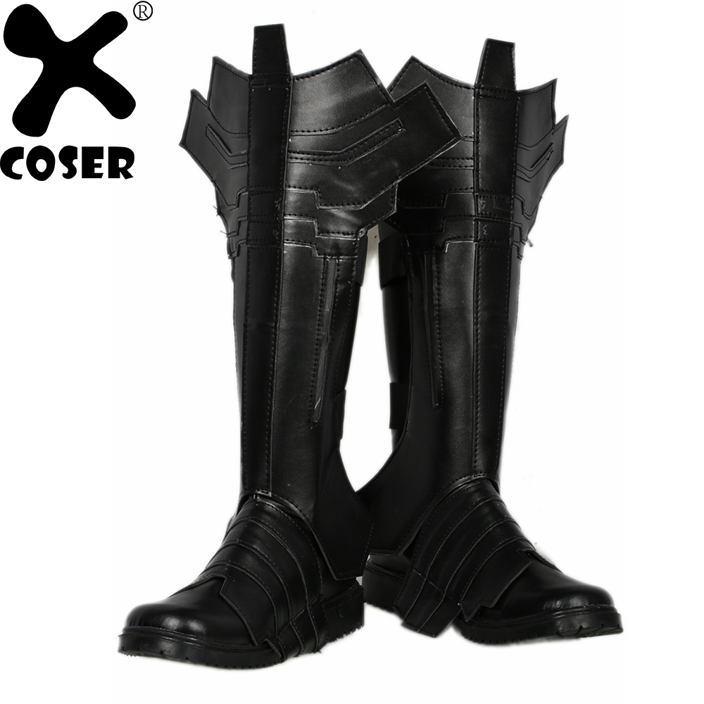 XCOSER Batman Combat Boots Cosplay Shoes 2018 Halloween Party High Quality Black Leather Movie Cosplay Boots Shoes For Men Women