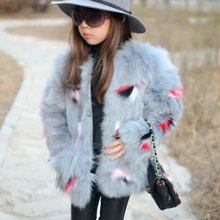 Children Real Fox Fur coat Kids Girls Autumn Winter Thick Warm Long Fox Fur Clothes coat Kids Solid O-Neck Coat(China)
