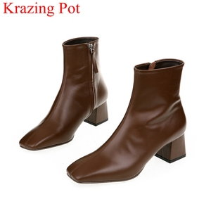 Image 1 - genuine leather zipper square toe high heels women ankle boots nightclub fashion boots party vacation elegant winter shoes L66