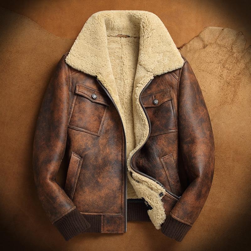 492083d48d3 US $799.0 |B3 Sheepskin Jacket Rust color Vintage shearling jacket Men's  Sheepskin Coat Pilots Coat Brown Original Flying Jacket-in Genuine Leather  ...