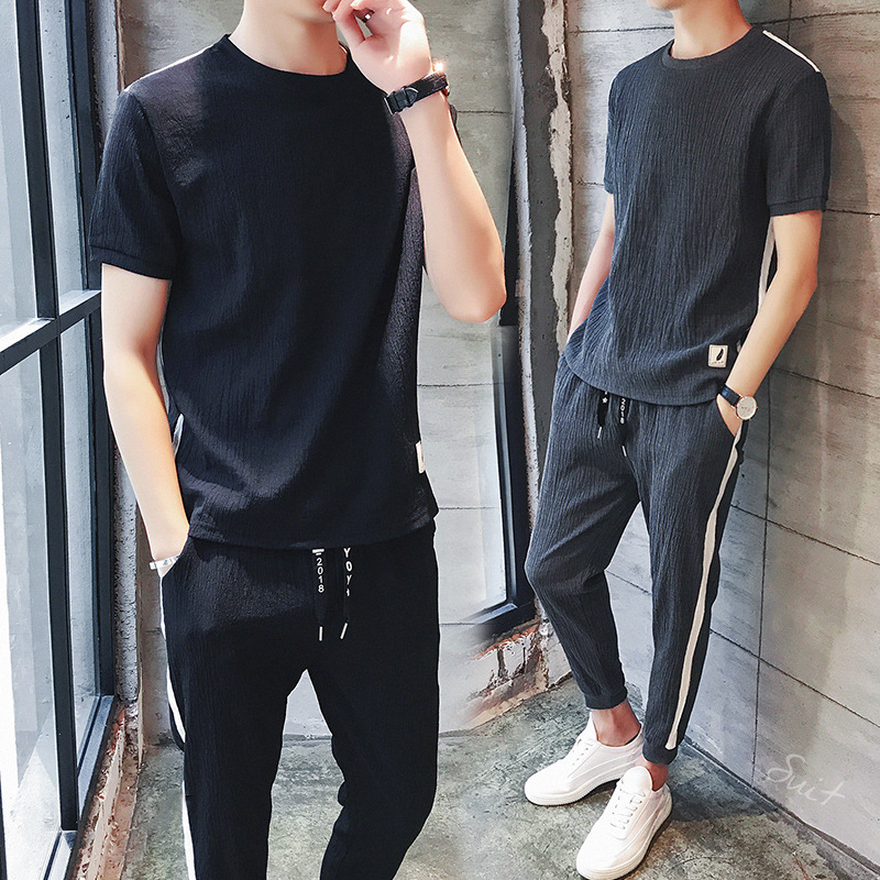 Men Summer Clothing Set 2019 New Casual O-neck Short Sleeve T-shirt & Pants Two Pieces Set M-3XL Plus Size Clothing High Quality