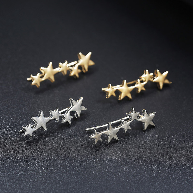 Moon Star Ear Climber Tiny Star Moon Stud Earrings For Women Everyday Teen Mothersday Celestial Birthday Gift Jewelry Earrring 2