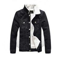 New Winter Men Fur Denim Jacket Coat 5xl Warm Black Male Thinken Berber Fleece Casual Denim Jacket Men Fat Slim Overcoat BY6051