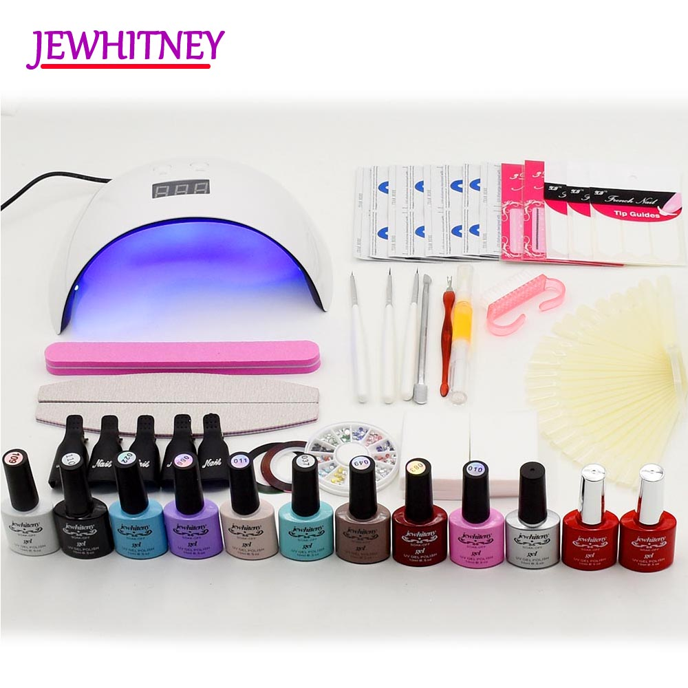 UV Nail gel polish Nail Set 24W LED lamp Dryer manicure set Nail Art tools Sets 10ML Soak off Nail gel Kits with manicure tools 36w uv pro nail art uv gel kits sets tools 36w uv nail lamp manicure set soak off gel polish top