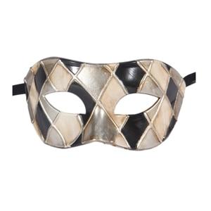 Горячая Арлекин Маскарад Танцевальная вечеринка маска уникальная мужская Венецианская проверенная маска - Цвет: black silver