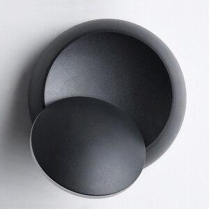 Image 5 - 크리 에이 티브 벽 조명 360 회전 5W 7W 현대 벽 램프 화이트 블랙 라운드 LED 벽 램프 장식 미술 조명